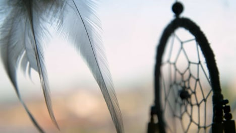 Extreme-Close-Up-Shot-of-Dreamcatcher-Feather-