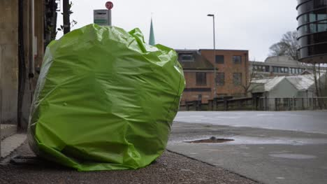 Close-Up-Shot-of-Garbage-Bag-On-Roadside-In-Oxford-England
