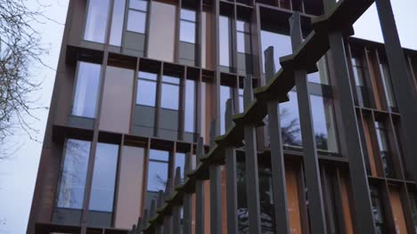 Handheld-Low-Angle-Shot-Looking-Up-at-Beecroft-Building-In-Oxford