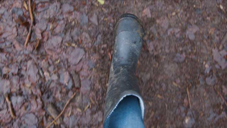 POV-Shot-Looking-Down-at-Feet-Walking-On-Muddy-Footpath