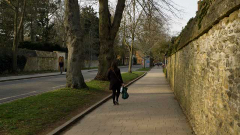Wide-Shot-of-Woman-Walking-Down-Street-