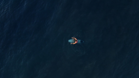 Drone-Shot-Looking-Down-On-Surfer-In-Ocean-Waiting-for-Wave-