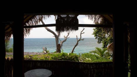 Wide-Shot-Looking-Out-to-Sea-from-Under-Resort-Structure