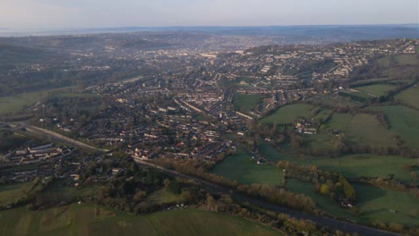 Drone-Shot-Flying-Towards-Somerset-City-of-Bath