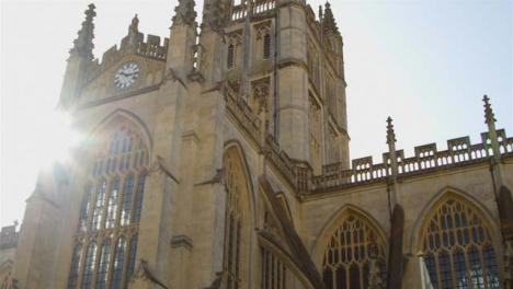 Low-Angle-Shot-Looking-Up-at-Bath-Abbey