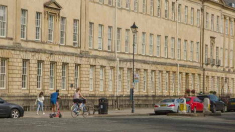 Wide-Shot-of-Cyclist-and-Scooter-On-Great-Pulteney-Street