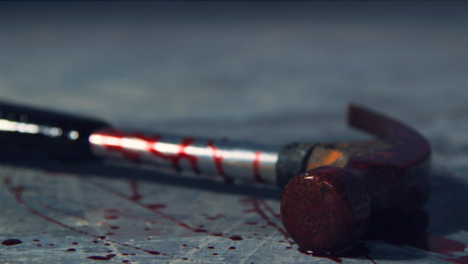 Extreme-Close-Up-Shot-of-Bloody-Hammer
