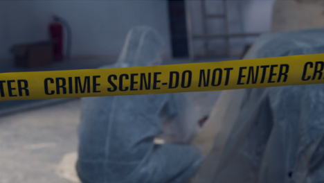 Tracking-Shot-Past-Crime-Scene-Tape-and-Forensic-to-Bloody-Crime-Scene-