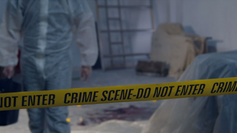 Tracking-Shot-Past-Crime-Scene-Tape-and-a-Forensic-to-Bloody-Crime-Scene-