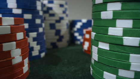 Sliding-Extreme-Close-Up-Shot-Past-Towers-of-Poker-Chips