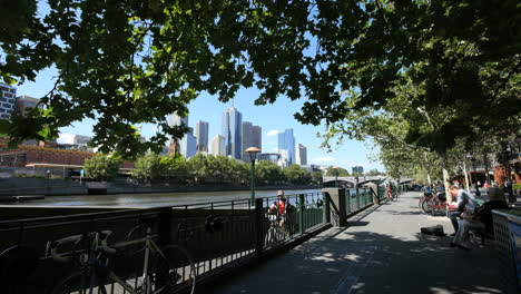 Melbourne-Australia-South-Bank-with-bicycle-walkway