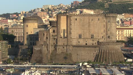 Naples-Italy-early-morning-closeup-of-castle