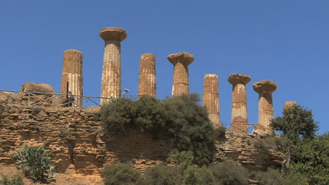 Italy-Sicily-Agrigento-columns-on-hill-with-blue-sky