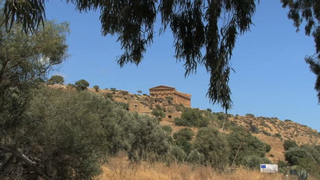 Italy-Sicily-Agrigento-distant-temple