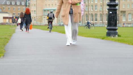 Long-Shot-of-Cyclists-and-Pedestrians-In-Parkers-Piece-