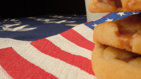 Sliding-Shot-Past-Cookies-and-Milk-On-American-Flag