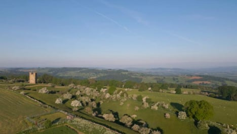 Drone-Shot-Flying-Over-Rolling-Cotswold-Hills-Near-Broadway-Tower