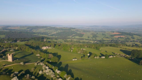 Drone-Shot-Flying-Over-Cotswold-Hills-Near-Broadway-Tower