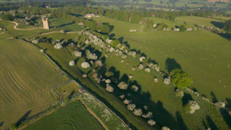 Drone-Shot-Flying-High-Above-Rolling-Cotswold-Hills-Near-the-Broadway-Tower