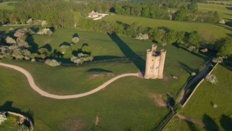Drone-Shot-Orbiting-Around-Broadway-Tower-In-Cotswolds
