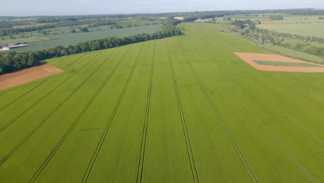Drone-Shot-Flying-Over-Countryside-Agricultural-Field-