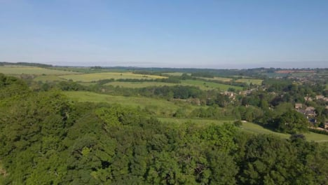 Drone-Shot-Flying-Over-Small-Tree-Line-In-Countryside