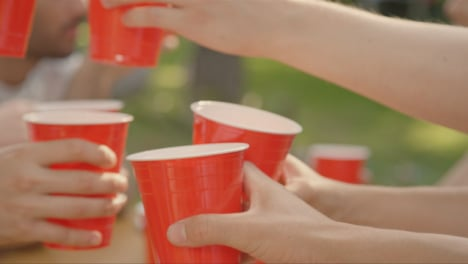 Close-Up-Shot-of-Young-Friends-Bringing-Their-Drinks-Together-In-a-Toast