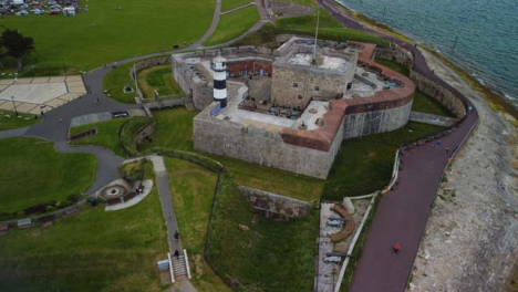 Drone-Shot-Orbiting-Around-Southsea-Castle-Part-2-of-2