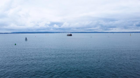 Drone-Shot-Flying-Over-Solent-Approaching-Old-Fort