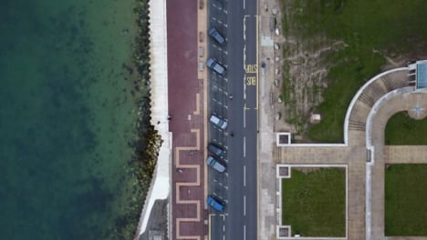 Drone-Shot-Looking-Down-and-Tracking-Coastal-Road-Part-1-of-2