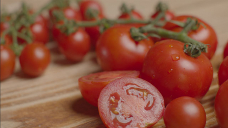 Close-Up-Shot-of-Tomatoes-On-Rustic-Wooden-Table-01