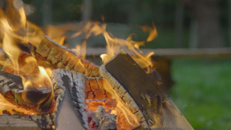 Close-Up-Shot-of-Marshmallow-Toasting-On-Campfire
