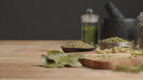 Sliding-In-Shot-to-Herbs-and-Grains-on-Table