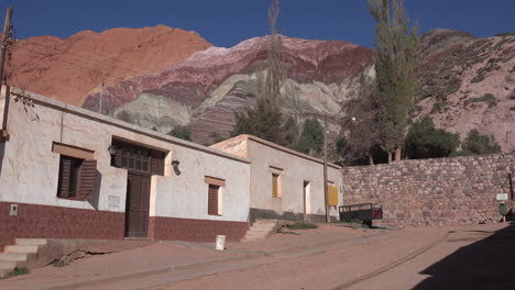Argentina-Purmamarca-hill-of-seven-colors-beyond-houses