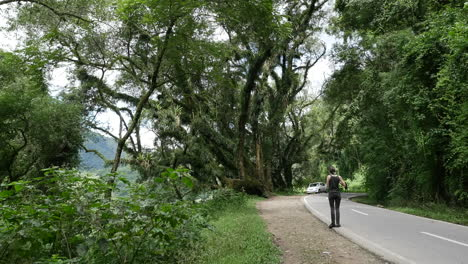 Argentina-woman-on-road-in-forest-pan