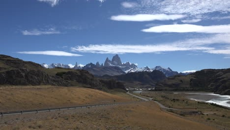 Argentina-zoom-in-to-Mount-Fitz-Roy-and-blue-sky