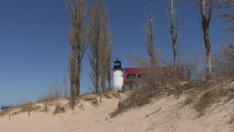 Michigan-lighthouse-above-sand-dunes