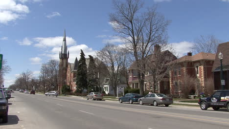 Michigan-town-with-church-and-traffic