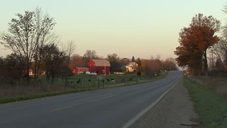 Michigan-zoom-on-barn-in-evening-editorial