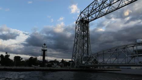 Duluth-Minnesota-aerial-lift-bridge-with-lighthouse
