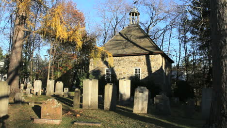Tombstones-cast-shadows-in-a-cemetery-by-the-Walloon-Church-in-New-Paltz-