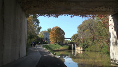 Ohio-Miami-and-Erie-Canal-view-framed-by-bridge