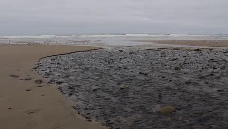 Oregon-coast-stream-flowing-at-low-tide