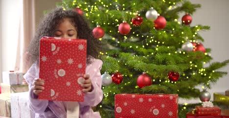 Child-Shaking-Unopened-Present-Under-Tree
