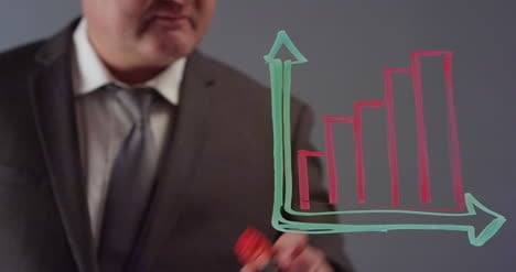 Empresario-Dibujo-Gráfico-De-Barras