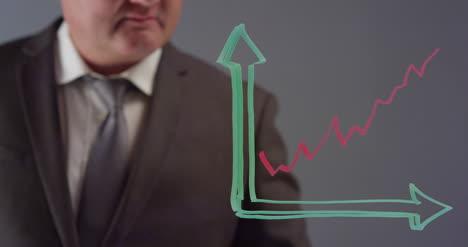Empresario-dibujo-gráfico-de-líneas