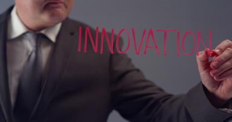 Geschäftsmann-Der-Wortinnovation-Schreibt
