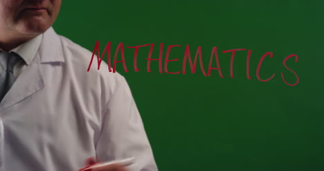 Man-Writing-Word-Mathematics-On-Green-Screen