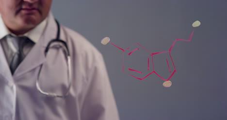 Doctor-Drawing-the-Symbol-for-serotonin