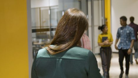 Rear-View-Businesswoman-Talking-On-Smartphone-In-Corridor